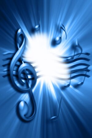 Music notes on blue background photo