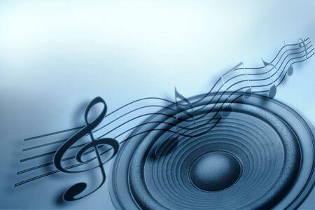 Notas de altavoz y música fuertes