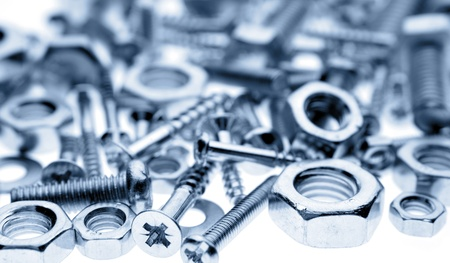 metal fastener: Closeup of nuts and screws Stock Photo