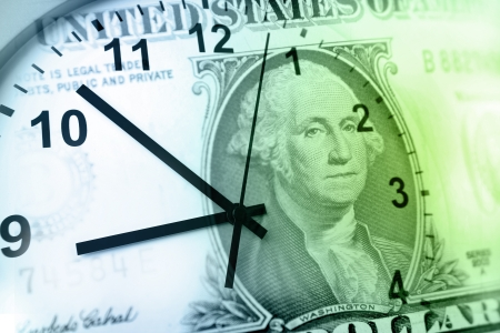 us money: Clock and banknote. Time is money concept