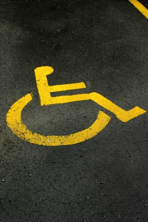 disabled parking sign: Handicapped symbol on parking space