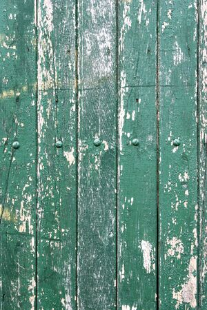 flaky: Weathered green boards on fence