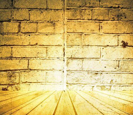 floorboards: Wooden floor and brick wall