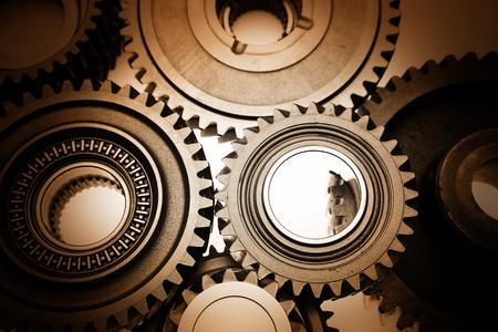 together concept: Primer plano de los engranajes de acero mallado juntos Foto de archivo