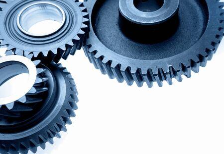 meshing: Closeup of steel gears meshing together