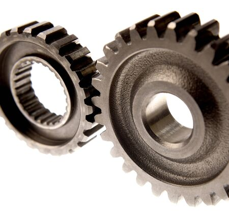 Closeup of two steel gears photo