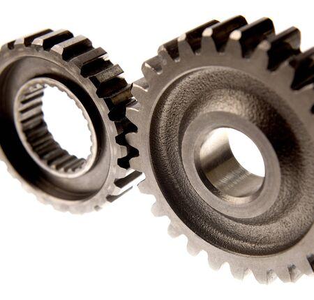 Closeup of two steel gears photo