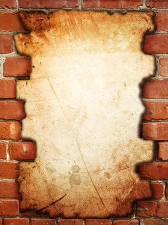 paredes de ladrillos: Brecha en la exposici�n de ladrillo superficie rugosa