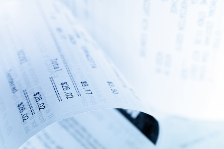Closeup of numbers on receipt Stock Photo