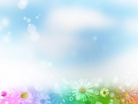 青と白の背景上に花