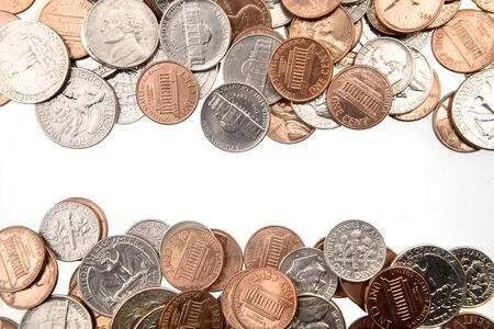 Closeup of American coins on plain background photo