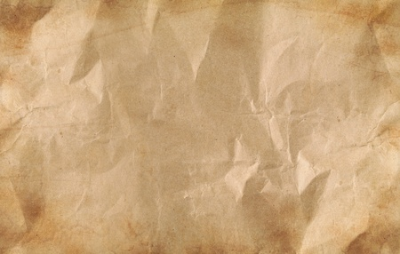 Closeup of brown wrinkled paper