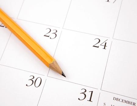 calender: Pencil on calendar page