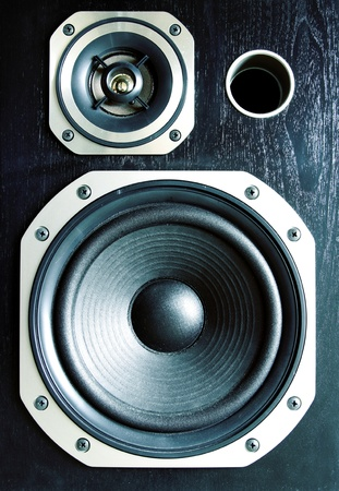 Closeup of two stereo speakers photo