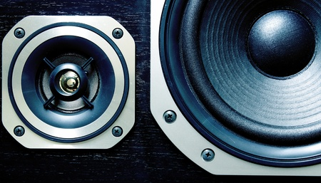 speaker system: Closeup of two stereo speakers Stock Photo