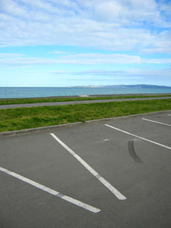 carpark: Empty carpark at seaside