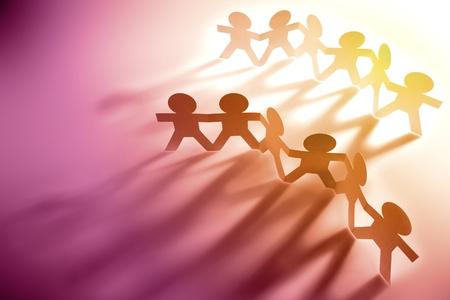 zweisamkeit: Gruppen von Papier-Kette Teams