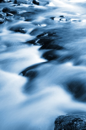 Beautiful stream flowing in motion. Natural background photo