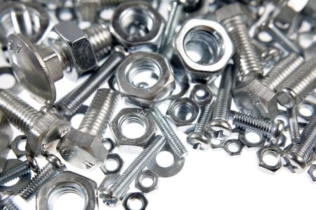 metal fastener: Closeup of nuts and bolts Stock Photo