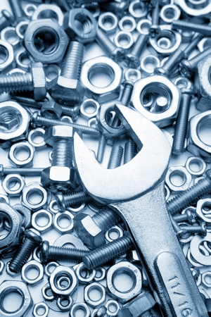 metal fastener: Wrench on nuts and bolts