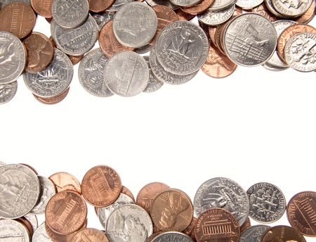 Assorted American coins on plain background photo