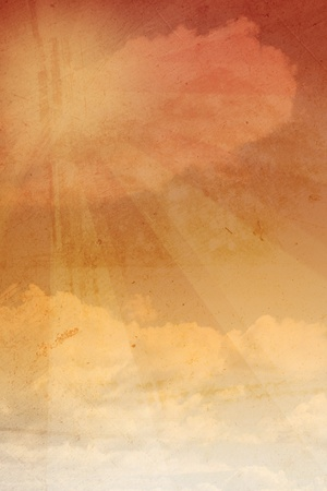 Clouds and sunrays grungy background Stock Photo - 12019967