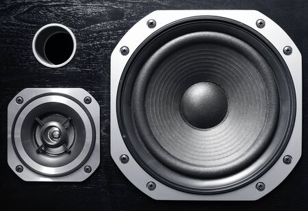 Closeup of two stereo speakers Stock Photo - 12019994
