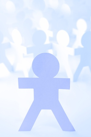 Group of paper doll people. Leadership Stock Photo - 12045493