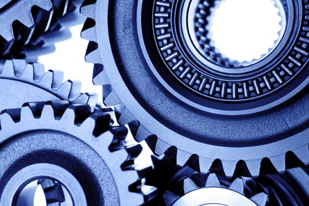 Closeup of steel cogs together photo