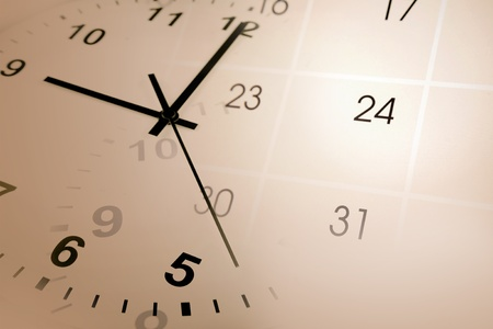 punctuality: Clock face and calendar composite Stock Photo