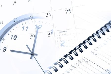 Klok, agenda en kalender pagina Stockfoto