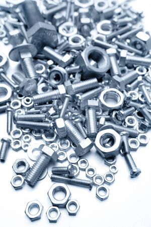 screws: Assorted nuts and bolts closeup