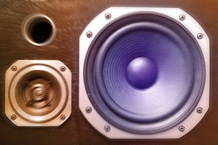 Closeup of two stereo speakers Stock Photo - 12196188