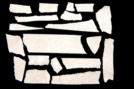 tear duct: Pieces of masking tape on black