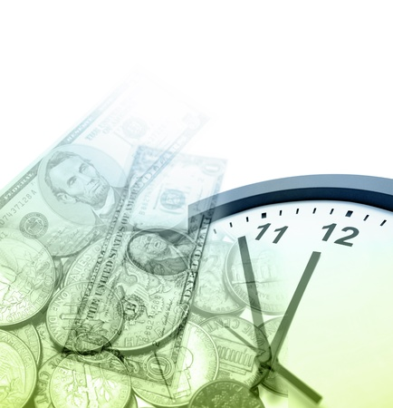 Clock, banknotes and coins. Copy space Stock Photo - 12196280