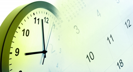 Clock face and calendar composite photo