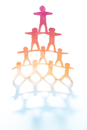 joining together: Human team pyramid