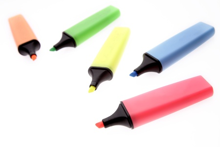 Five highlighters on plain background Stock Photo