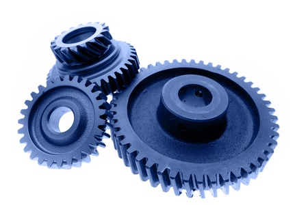 gearbox: Three cogs on plain background