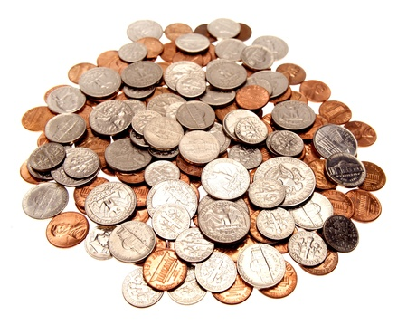 loose: American coins on plain background