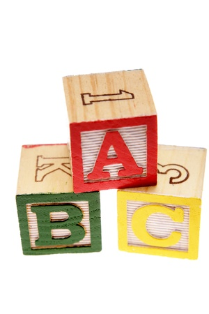 playschool: ABC learning blocks isolated over white Stock Photo