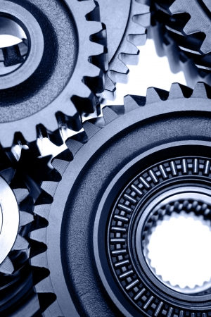 Steel gears meshing together Stock Photo - 12196015