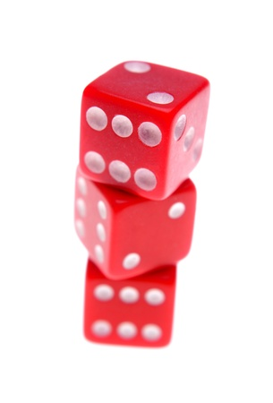 Three dice on plain background Stock Photo - 12196054