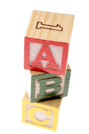 ABC learning blocks on white photo