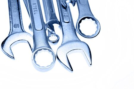 spanners: Closeup of spanners on plain background