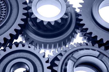 cogwheels: Steel gears meshing together