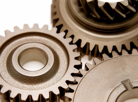 Closeup of three metal gears Stock Photo - 12522800