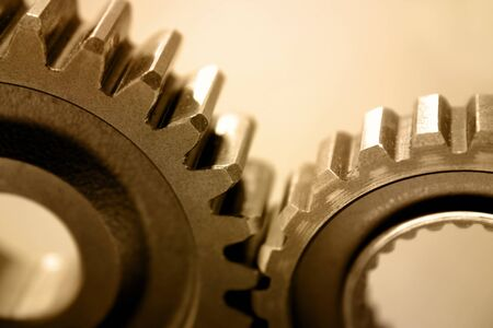 Two gears meshing together Stock Photo - 12522935