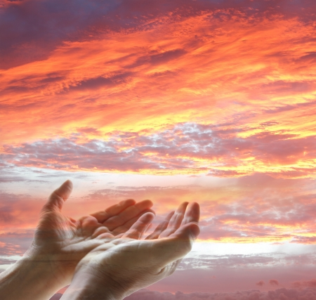 christian worship: Hands reaching for the sky