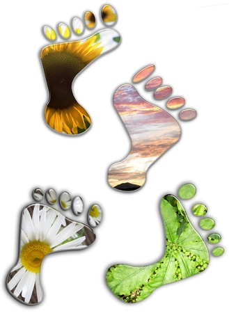 environmental issues: Environmental footprints on plain background